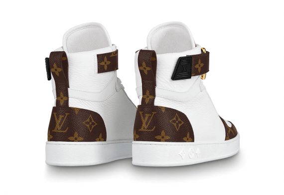 Louis Vutton Boombox Sneaker Boot White Patent Monogram Canvas